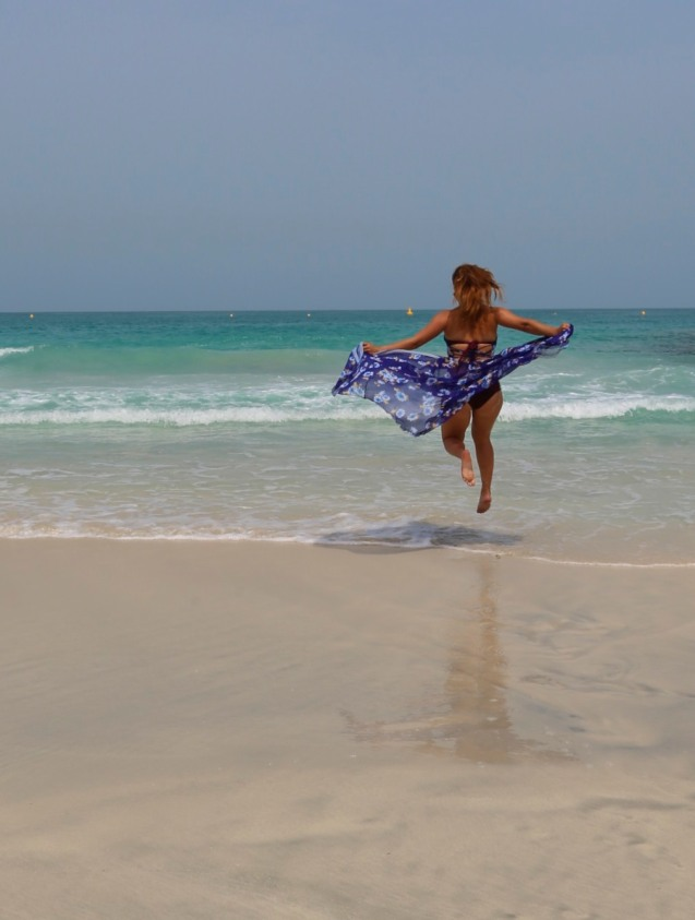 On the beach at the Burj Al Arab in Dubai