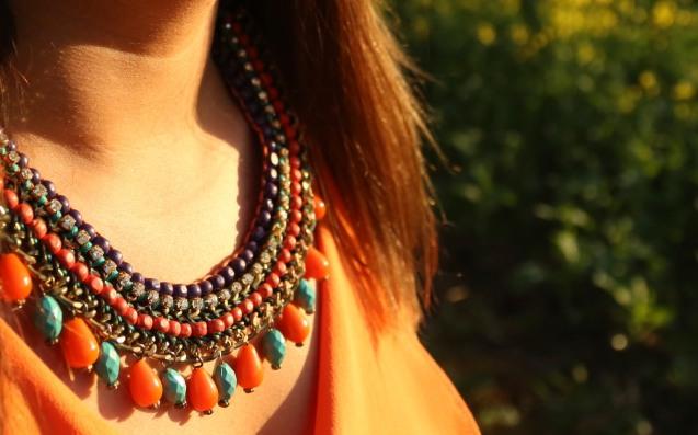 Canola fields, fashion clothing, adventure, photography, mango necklace