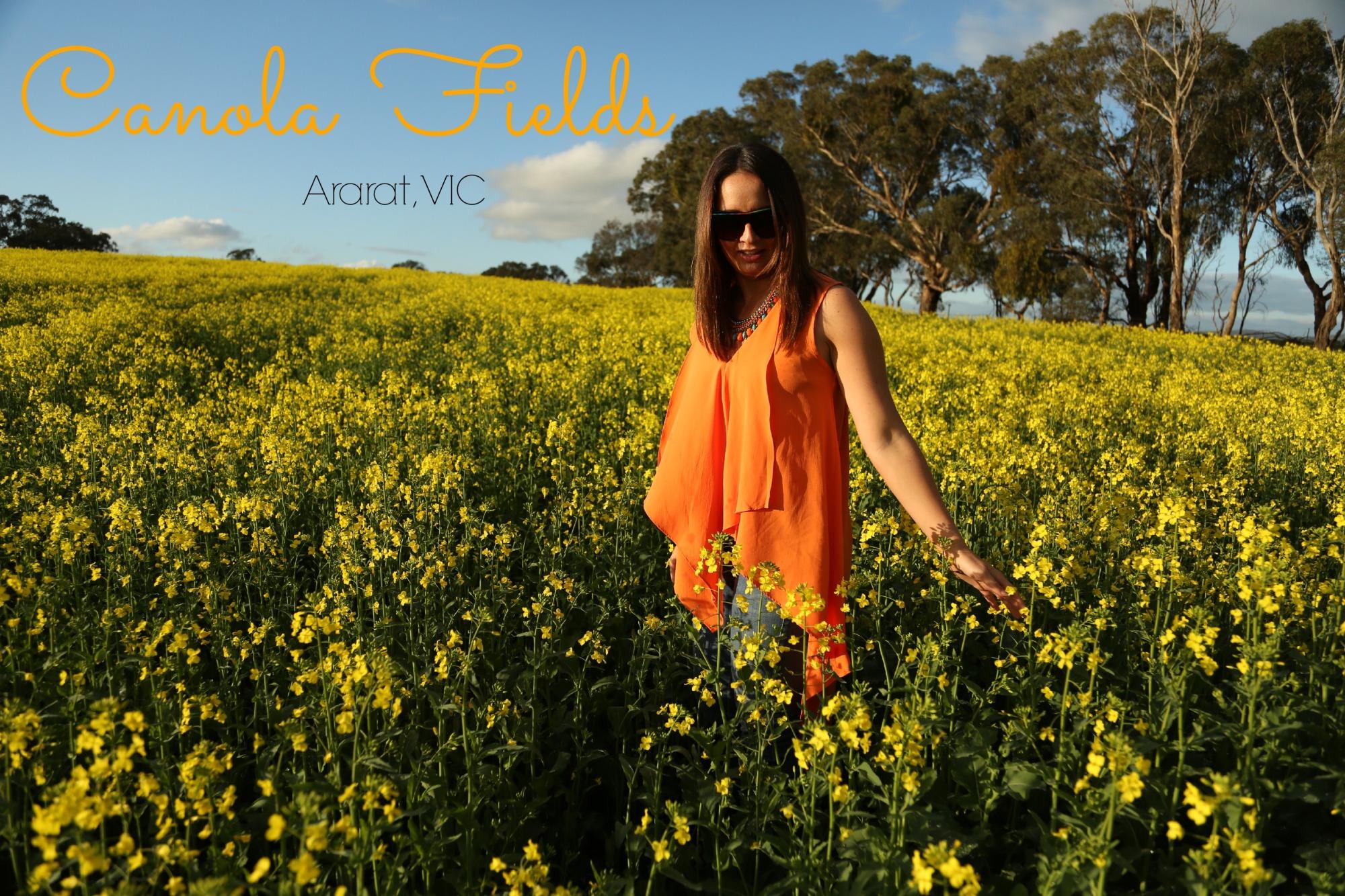 Canola fields, fashion clothing, adventure, mango necklace