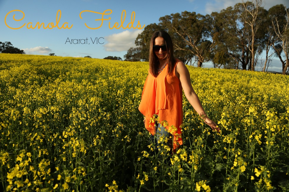 Canola fields, fashion clothing, adventure, mango necklace