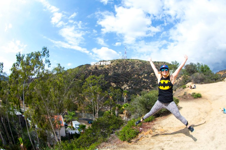 Star jump Hollywood sign